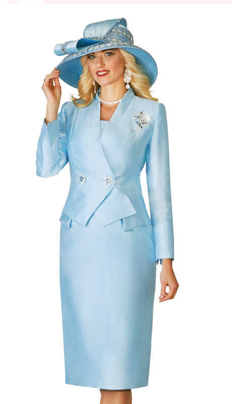 Lily and Taylor 4113 ( 3pc Womens Suit With Asymmetric Two Button Double Breasted Jacket For Church )
