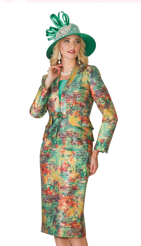 Lily and Taylor 4097  ( 3pc Multi Color Womens Church Suit With Rhinestone Clasp )