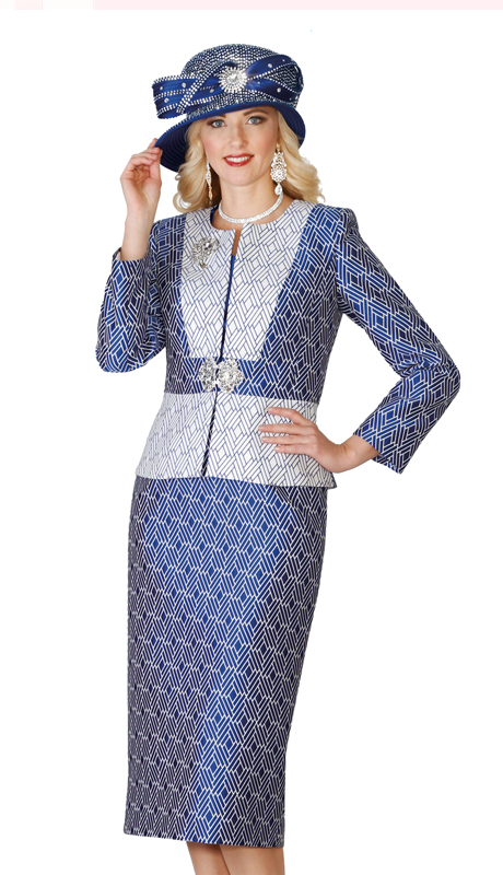 Lily & Taylor 4131 ( 3pc Multi Print Exclusive  Jacquard Fabric Womens Church Suit )