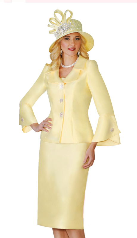 Lily & Taylor 4107  ( 2pc Womens Skirt Suit With Button Bell Sleeves & Layered Collar And Rhinestone Buttons )