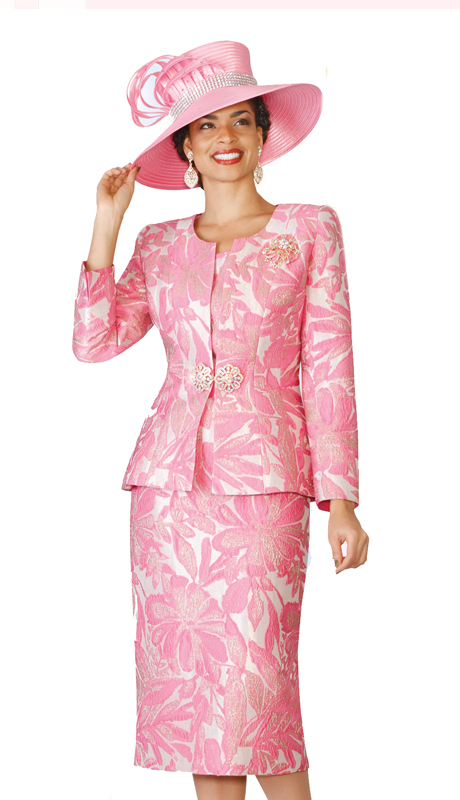 Lily & Taylor 4126 ( 3pc Exclusive Jacquard Skirt Suit With Rhinestone Clasp And Brooch )