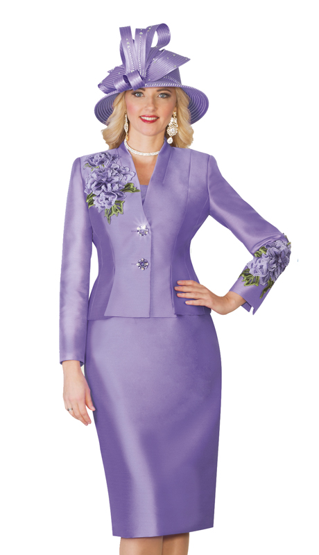 Lily Taylor 4122-Lav ( 2pc Exclusive Skirt Church Suit With Flower Embroidery )
