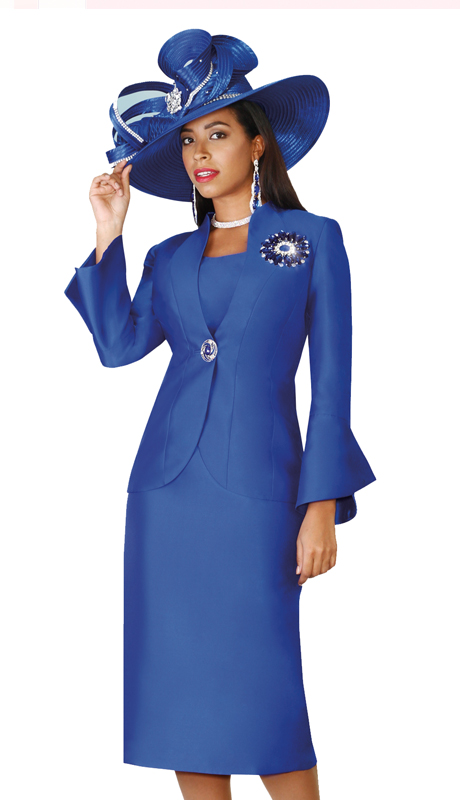 Lily & Taylor 4140-RO ( 3pc Exclusive Silk Skirt Suit With Vented Cuff Sleeves For Church )