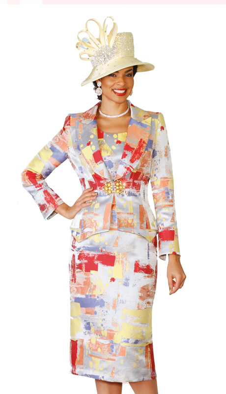 Lily & Taylor 4084  ( 3pc Novelty Silk Skirt Suit With Notch Lapels )