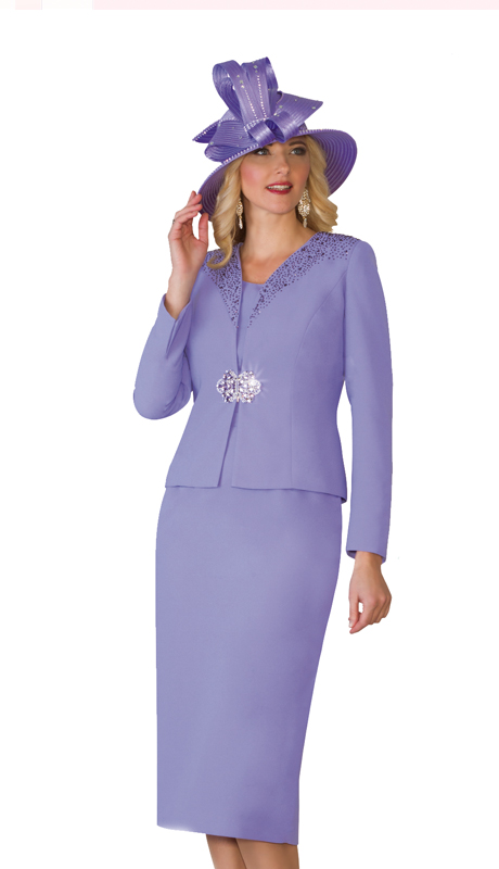 Lily & Taylor 4101-LAV ( 3pc Exclusive French Crepe Fabric Skirt Suit With Embellished Jacket And Rhinestone For Church )