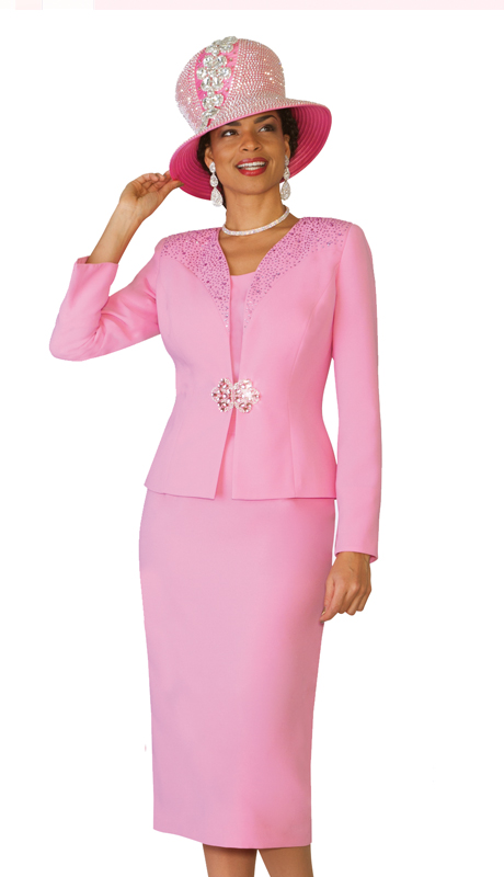 Lily & Taylor 4101-PI ( 3pc Exclusive French Crepe Fabric Skirt Suit With Embellished Jacket And Rhinestone For Church )