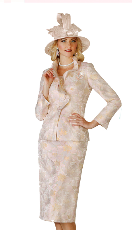Lily & Taylor 4139 ( 2 pc Exclusive French Exclusive Skirt Suit With Ruffle Jacket And Rhinestone For Church )