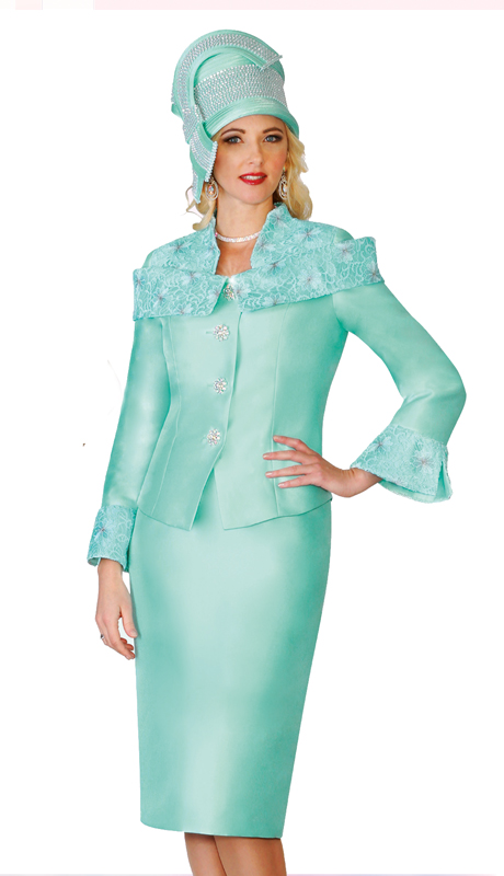 Lily & Taylor 4125  ( 2pc Exclusive Church Suit With Off Shoulder Lace Collar And Lace Bell Cuffs )