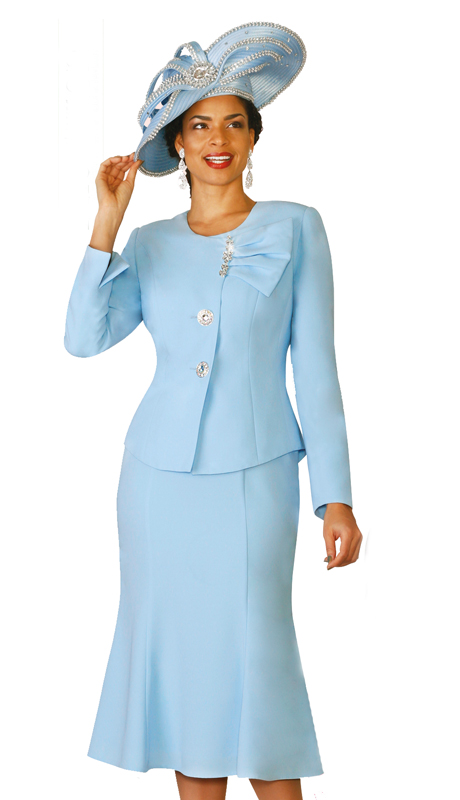 Lily & Taylor 4080-IB ( 2pc  French Crepe Fabric Flared Skirt Suit With Jewel Neckline For Church )
