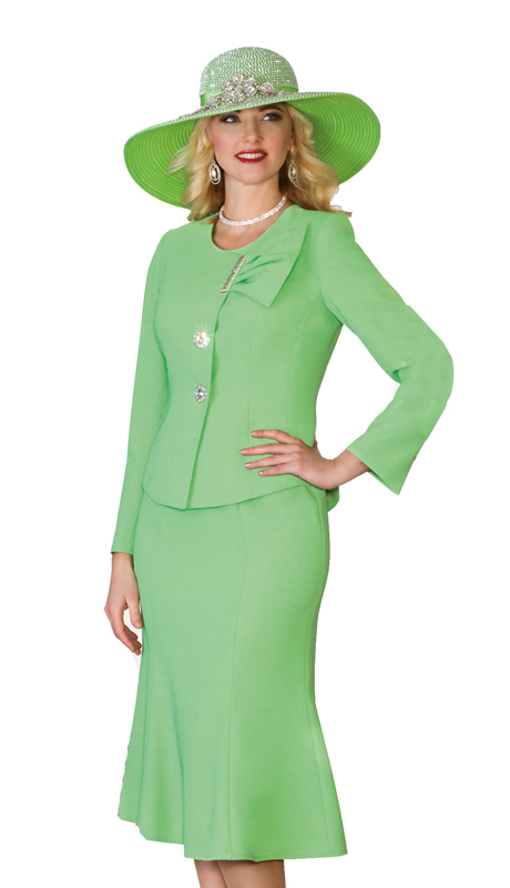 Lily & Taylor 4080-G ( 2pc  French crepe ladies' church suit with an asymmetrical jacket and a fit and flare skirt For Church )