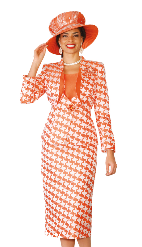 Lily & Taylor 4127 ( 3pc  Exclusive ladies' silk skirt suit in a geometric pattern For Church )