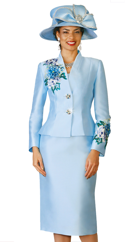 Lily & Taylor 4122-IB ( 2pc Exclusive Skirt Suit With  Flower Embroidery )
