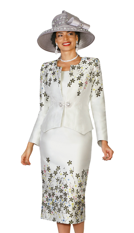 Lily & Taylor 4137 ( 3pc Novelty Skirt Suit In A Floral Print For The First Lady )
