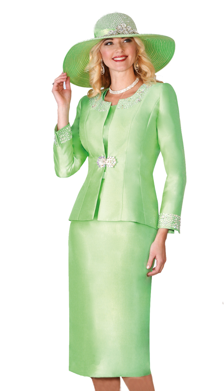 Lily & Taylor 3800 ( 3 pc Women Church Skirt Suit With Rhinestones And Embellished Jacket )