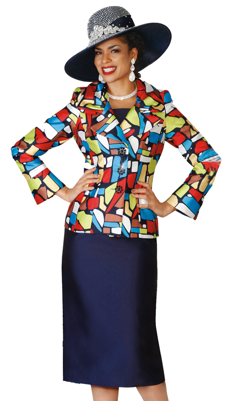 Lily & Taylor 4066 ( 2pc Exclusive Church Suit With A Colorful Jacket For The First Lady )