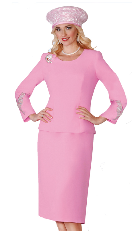 Lily & Taylor 4053-PK ( 2pc French Crepe Ladies Skirt Suit Rhinestone Embellish And Brooch )