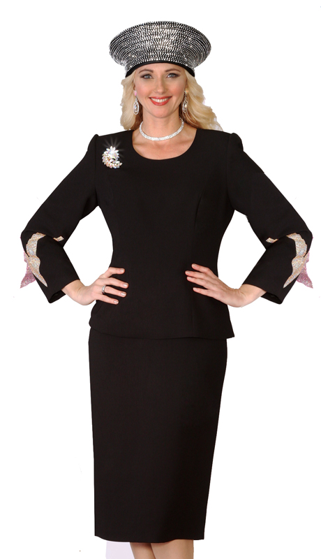 Lily & Taylor 4053-BLK ( 2pc French Crepe Ladies Skirt Suit Rhinestone Embellish And Brooch )