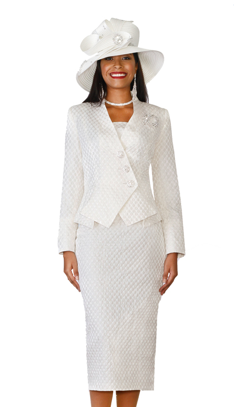 Lily & Taylor 4110-IV ( 2pc Ladies Novelty Church Suit With Asymmetrical Jacket And Rhinestone Buttons )
