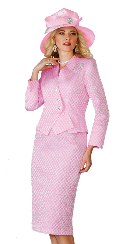 Lily & Taylor 4110-P ( 2pc Ladies Novelty Church Suit With Asymmetrical Jacket And Rhinestone Buttons )
