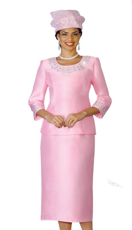 Lily & Taylor 3219-PI ( 2pc Women Church Suit In A Exclusive Silk, Embellished Top )