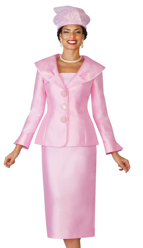 Lily & Taylor 4095-PI ( Exclusive Silk  Womens Church Suit With Wide Over Shoulder Collar )