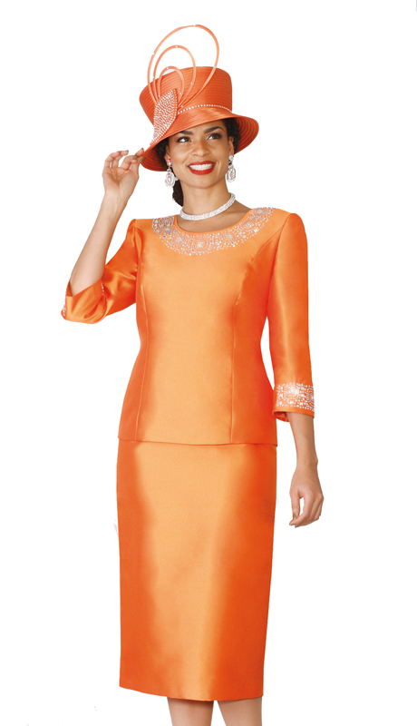 Lily & Taylor 3219-OR ( 2pc Women Church Suit In A Exclusive Silk, And Embellished Top )