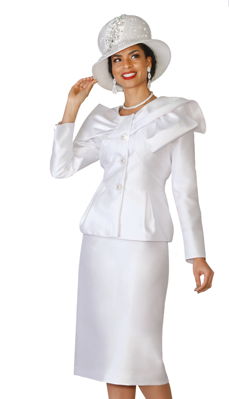Lily & Taylor 4051 ( 2pc Exclusive Silk Ladies Church Suit With A Unique Collar And Rhinestone Buttons )