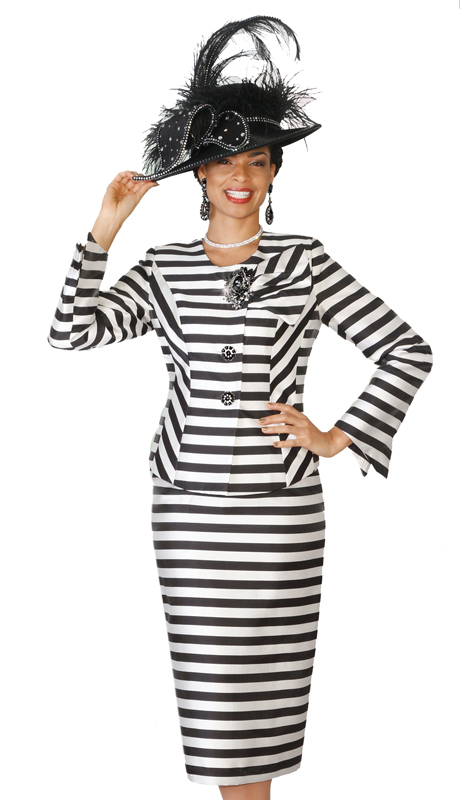 Lily & Taylor 4102 ( 2pc Novelty Church Suit And A Bold Stripe And Skirt With a Back Pleated Insert )