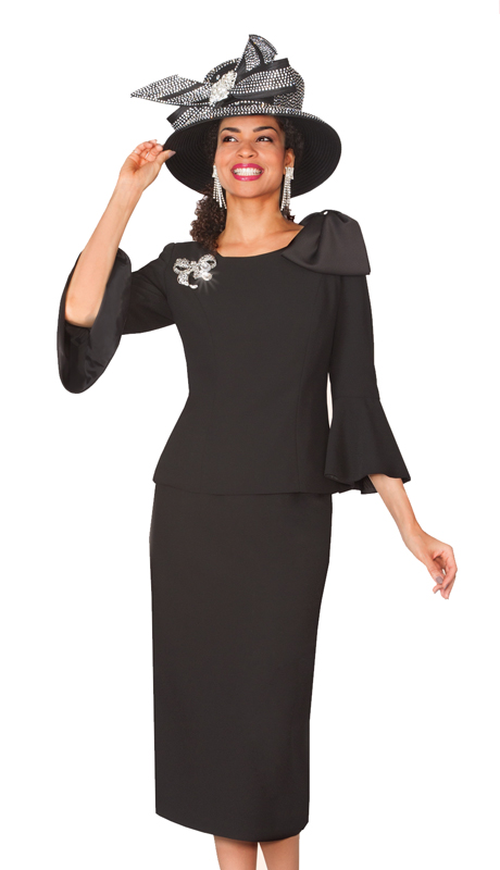 Lily & Taylor 4010-BW ( 2pc Ladies Church Suit With Bell Sleeve With Rhinestone Brooch )