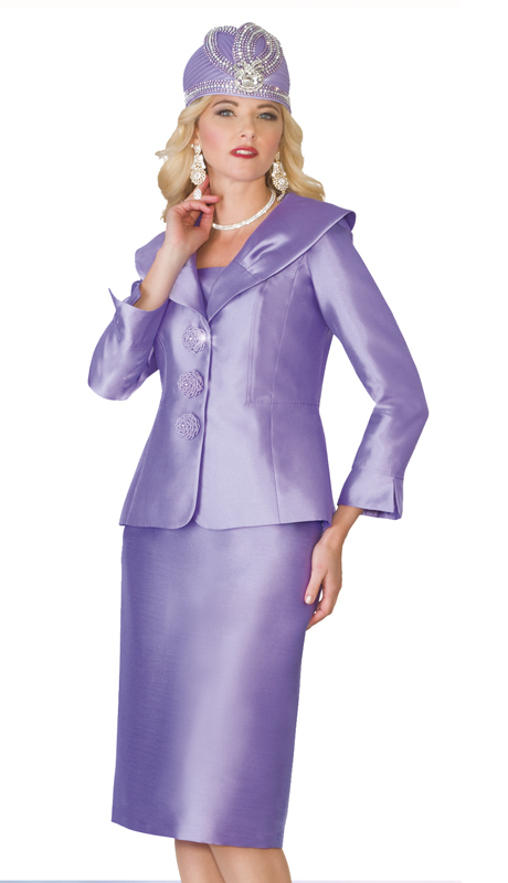 Lily & Taylor 4095-LAV ( 2pc Exclusive Silk Womens Church Suit With Wide Over Shoulder Collar )