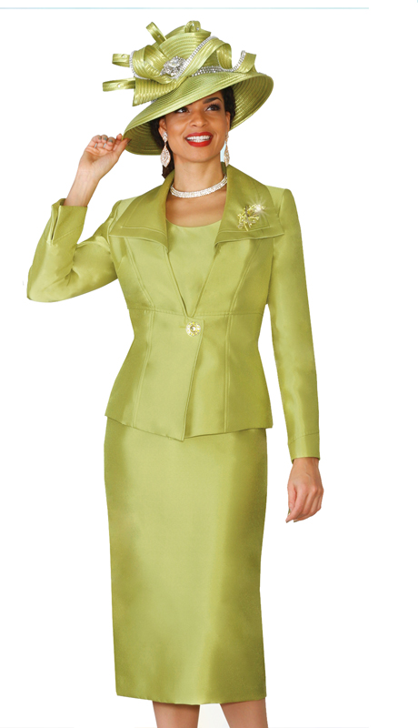 Lily & Taylor 4014 ( 3pc Exclusive Silk Ladies Church Suit With A Rhinestone Pin )