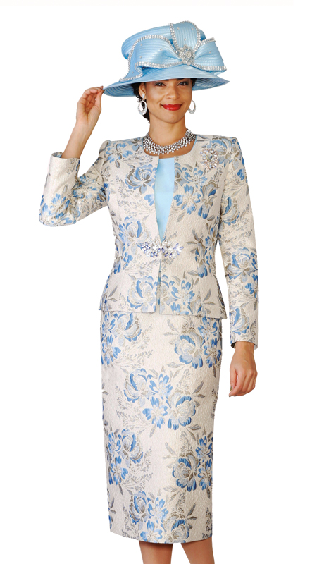 Lily & Taylor 4136  ( 3pc Novelty Fabric Womens Church Suit With Floral Print )