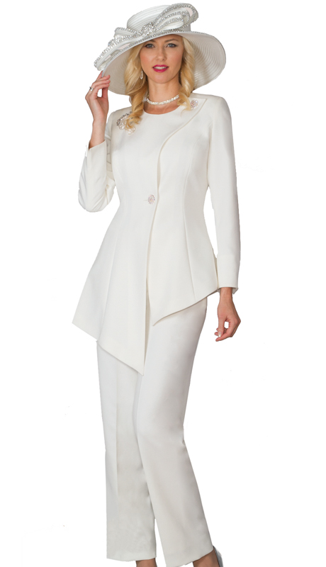 Lily & Taylor 4028 ( 2pc Novelty Pant Suit With Asymmetric Jacket And Rhinestone Brooch For Women Sunday Suit )
