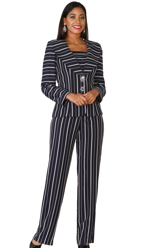 Lily & Taylor 4070 ( 2pc Novelty Pant Suit With Jacket And Flattering Vertical Stripes )