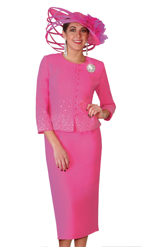 Lily & Taylor 4019-F ( 2pc Exclusive Ladies Church Suit With Rhinestone Embellished And Brooch )
