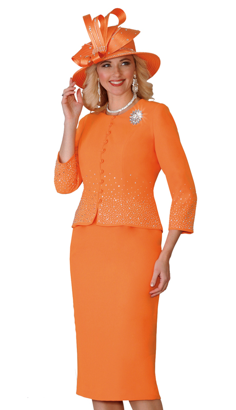 Lily & Taylor 4019-OR( 2pc Exclusive Ladies Church Suit With Rhinestone Embellished And Brooch )