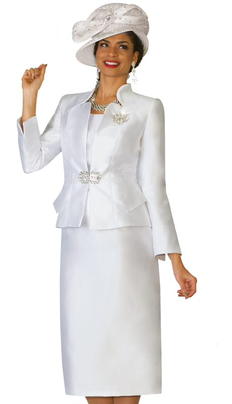 Lily & Taylor 3953-IH ( 2pc Exclusive Silk Ladies Church Suit With Rhinestone Brooch And Clasp )