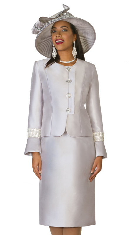 Lily & Taylor 4047  ( 2pc Exclusive Ladies Church Suit With Rhinestone Buttons, Embellished Trim )