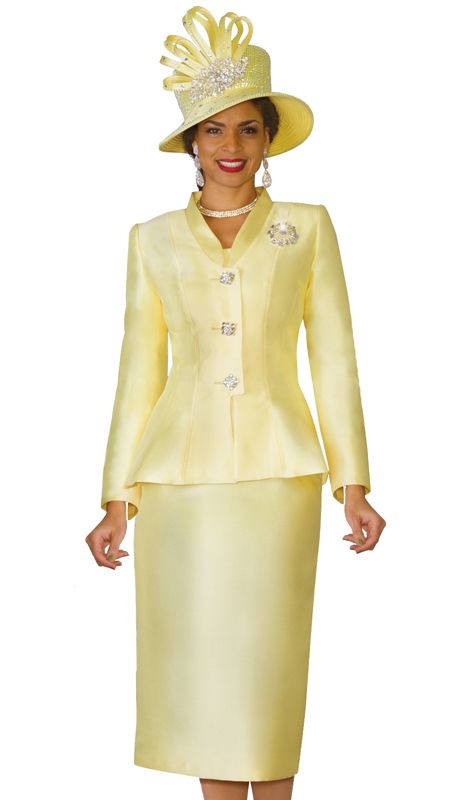 Lily & Taylor 4022-CO ( Exclusive Silk Church Suit With Peplum Jacket And Rhinestone Brooch )