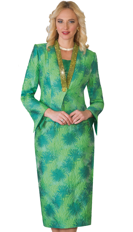 Lily & Taylor 4034 ( 3pc Novelty Skirt Suit With Rhinestone Embellished Jacket For The First Lady )