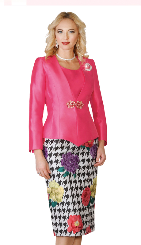 Lily & Taylor 4099-MM ( 3pc  Skirt Suit With Floral Print For Church )