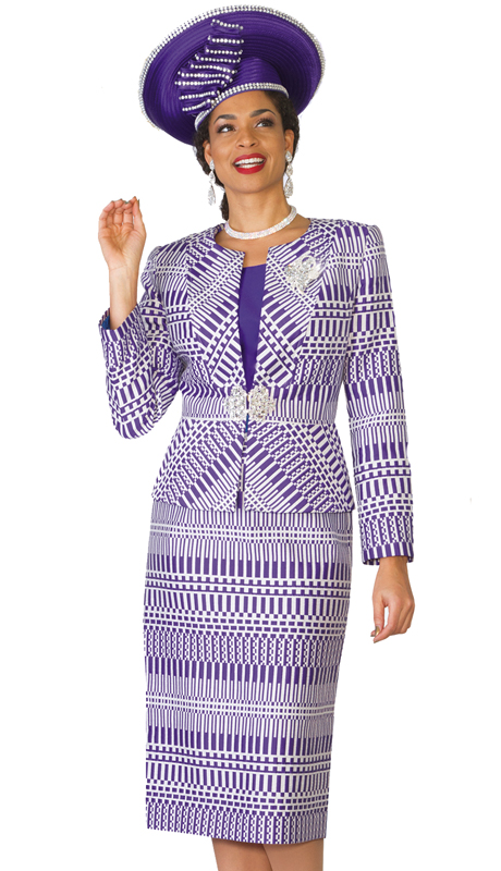 Lily & Taylor 3863 ( 3pc Womens Church Suit With Geometric Pattern Jacquard Suit )
