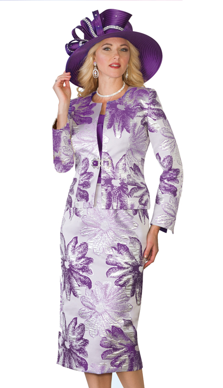 Lily & Taylor 4069 ( 3pc Novelty Floral Print Skirt Suit For The First Lady )