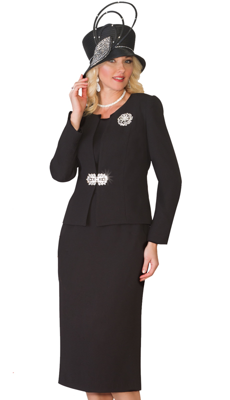 Lily & Taylor 3052 ( 3pc Ladies Church Suit With Rhinestone Clasp And Brooch )
