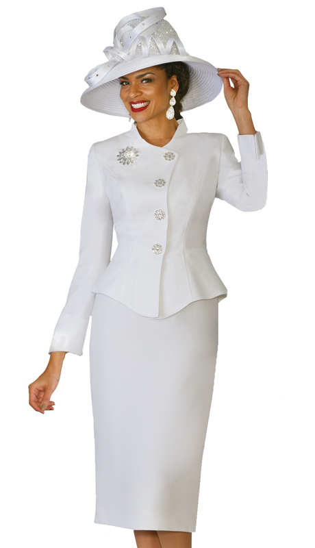 Lily & Taylor 4046-WI-IH ( 2pc Ladies Church Suit With Rhinestone Buttons )