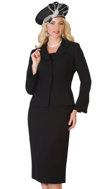 Lily & Taylor 4063 -BLK ( 2pc French Crepe Ladies Skirt Suit For Church )
