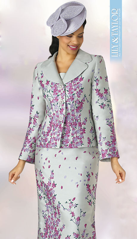 Lily And Taylor 4342-SF ( 2pc Silk Womens Church Suit With Floral Design )
