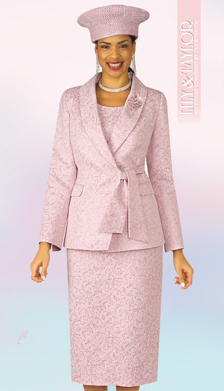 Lily And Taylor 4306-PI ( 3pc Novelty Suit For Sunday With Wrap Jacket And Tie Sash And Jeweled Brooch )