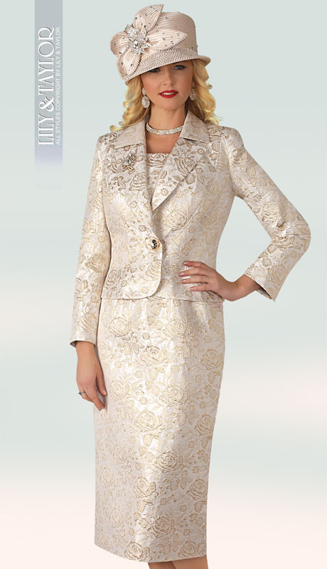 Lily And Taylor 4349-GO ( 3pc Silk Novelty Womans Suit With Brocade Pattern. Lapel Jacket And Jeweled Button )