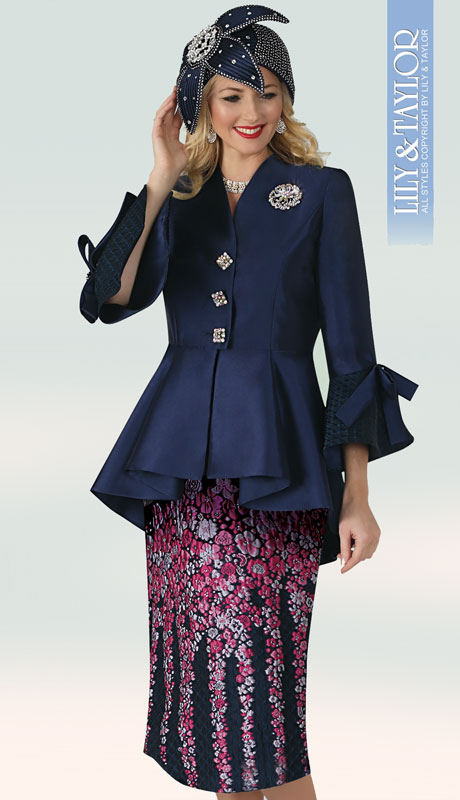 Lily And Taylor 4352-NA ( 2pc Silk Church Suit With Embroidered Skirt,  Jacket With Pleated Hem, Jeweled Buttons And Brooch )